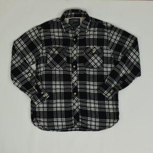Nautica Regular L Black   Button Down Cotton Plaid